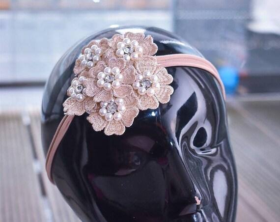 Ivory and Nude flower cluster headband - Baby / Toddler / Girls / Kids Headband / Hairband / Hair bow /Baptism /First Communion / Wedding