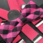 BOYS COLLECTION : Pink and black gingham / plaid bow tie  for Baby, Toddlers and Boys (Kids Bow Ties) with Braces/ Suspenders