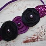 Navy and purple floral elastic headband - Baby / Toddler / Girls / Kids Headband / Hairband / Hair bow /Crown