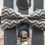 BOYS COLLECTION: Grey and silver chevron Bow Tie  for Baby, Toddlers and Boys (Kids Bow Ties) with Braces/ Suspenders