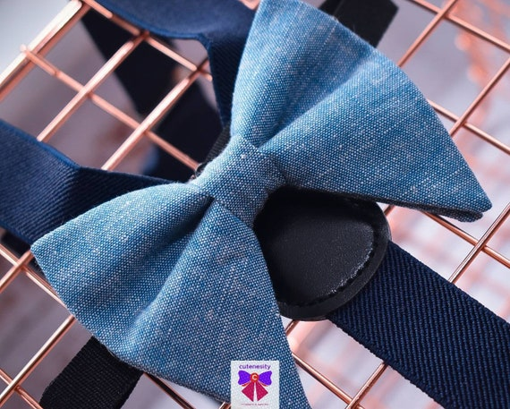 Denim blue linen effect butterfly / poppy Bow Tie  for Baby, Toddlers and Boys (Kids Bow Ties) with Braces / Suspenders