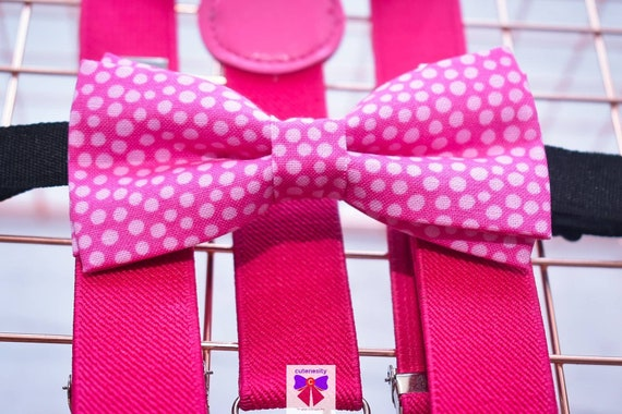 Pink and White Polka Dot Bow Tie  for Baby, Toddlers and Boys (Kids) with Braces / Suspenders for wedding / church /baptism / communion