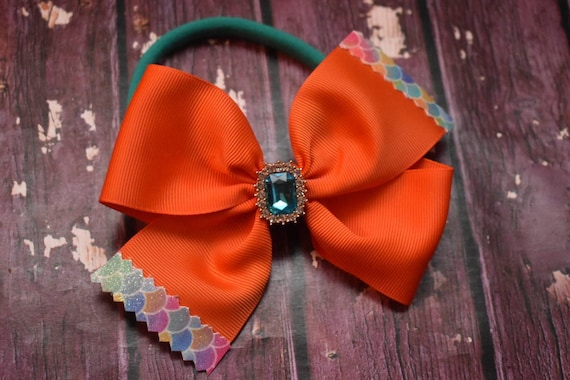 Orange grosgrain with mermaid tips bow - Baby / Toddler / Girls / Kids Headband / Hairband / Barrette / Hairclip