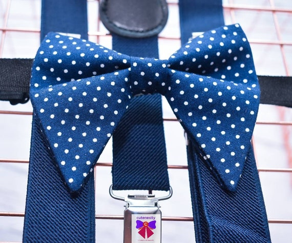 Navy polka dot butterfly / poppy Bow Tie  for Baby, Toddlers and Boys (Kids Bow Ties) with Braces / Suspenders for church, wedding, birthday