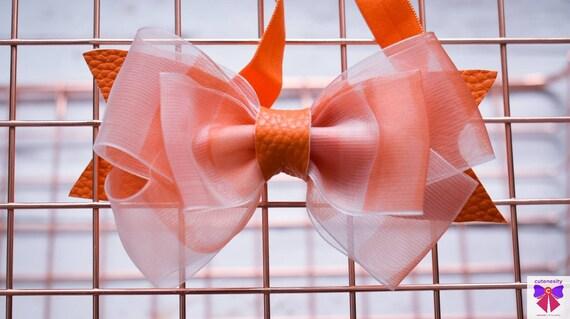 Orange and white stripe bow  - Baby / Toddler / Girl / Kid Headband / Hairband  / Barette / Hairclip / Christening / birthday party/ wedding