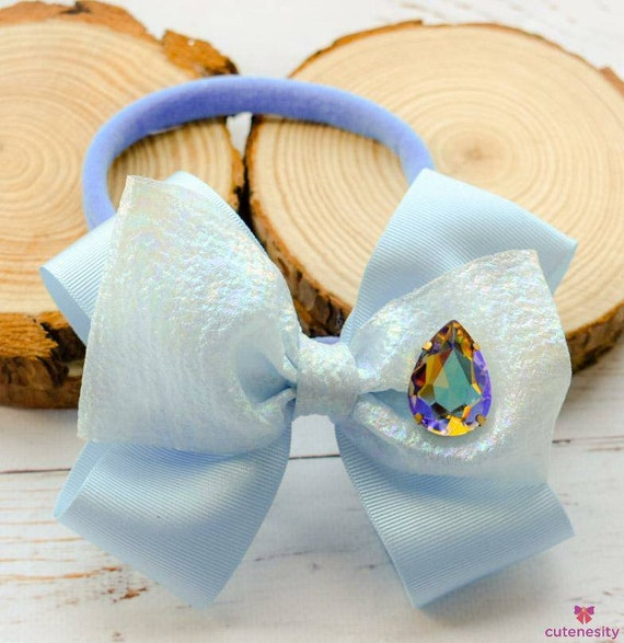 Pale blue and shimmer layered Bow with rhinestone - Baby / Toddler / Girls / Kids Headband / Hairband  / Barette / Hairclip for party, photo
