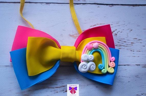 Bright coloured Rainbow Grosgrain Ribbon Bow - Baby / Toddler / Girl / Kids Headband / Hairband / Barrette / Hairclip / Birthday / Cakesmash