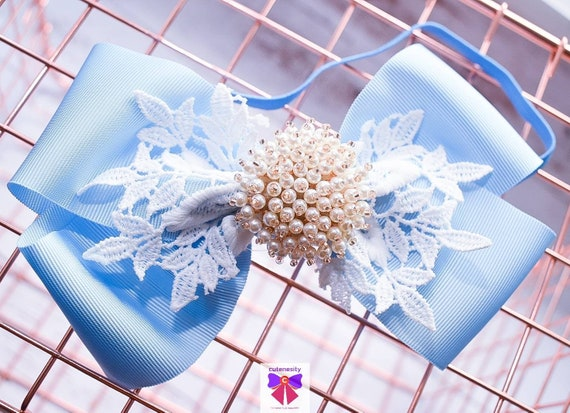 White and Blue Layered Bow with Rhinestone - Baby / Toddler / Girls / Kids Headband / Hairband / Hair bow / Barette / Hairclip / Wedding