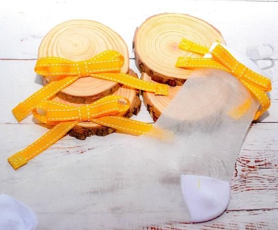Pixie yellow and white pair of bows with matching sheer socks - Baby / Toddler / Girls / Kids Headband / Hairband  / Barette / Hairclip