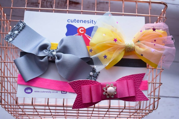 Set of 3 Headbands in yellow, silver and Pink - Baby / Toddler  Elastic / Hairband/ Bow/ Hairbow / Barrettes / Hairclips / grosgrain / stars