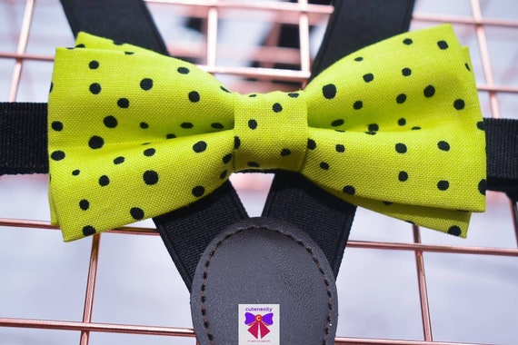 Green and Black Polka Dot Bow Tie  for Baby, Toddlers and Boys (Kids) with Braces / Suspenders for wedding / church /baptism / communion