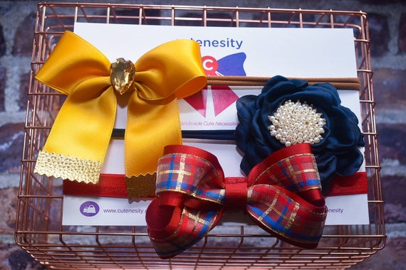 Festive set of 3 Headbands in Gold, Navy and Red - Baby / Toddler  Elastic / Hairband/ Bow/ Hairbow / Barrettes / Hairclips / Hair Flower