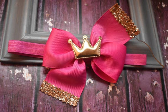 Princess Fuchsia Pink and gold grosgrain bow with a crown - Baby / Toddler / Girls / Kids Headband / Hairband / Barrette / Hairclip