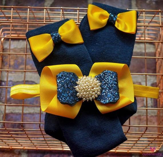 Yellow and navy glitter layered Bow with matching socks - Baby / Toddler / Girls / Kids Headband / Hairband  / Barette / Hairclip