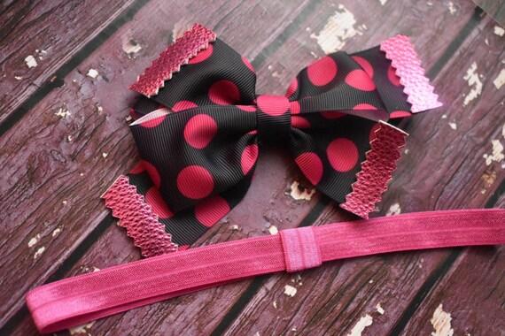 Minnie inspired pink and black polka dot bow - Baby / Toddler / Girls / Kids Headband / Hairband / Hair bow / Barette / Hairclip / Disney