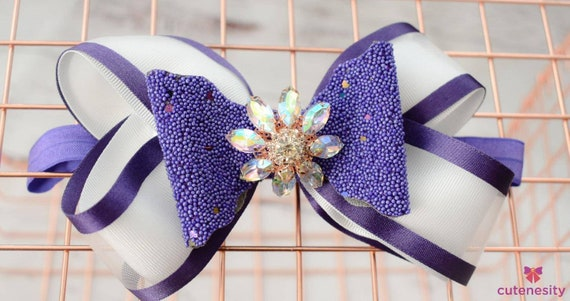Purple and white layered Bow with sparkly rhinestone - Baby / Toddler / Girls / Kids Headband / Hairband  / Barette / Hairclip
