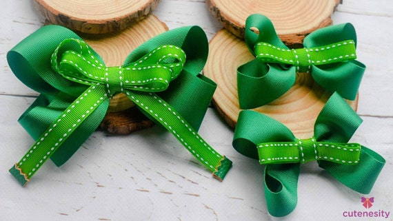 Green and white headband with matching barettes - Baby /Toddler / Kids Elastic / Hairband/ Bow/ Hairbow / Girl - school bows