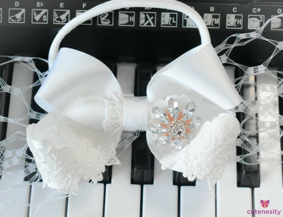 Christening white bow with lace headband - Baby / Toddler / Girls / Kids Headband / Hairband / Hair bow /Baptism /First Communion