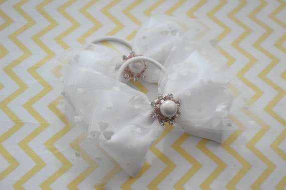 Pair of tulle satin bow with embroidered hearts / hair ties / pigtail bows / pony tail bows / flowergirl bows / birthday bows / scrunchies
