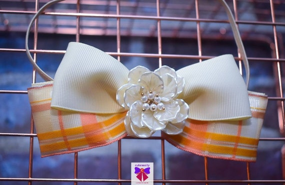 Ivory, peach and gold plaid layered bow with flower rhinestone - Baby / Toddler / Girls / Kids Headband / Hairband  / Barette / Hairclip