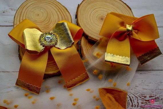 Gold rhinestone bow matching polka dot sheer socks with bows - Baby / Toddler / Girls / Kids Headband / Hairband  / Barette / Hairclip