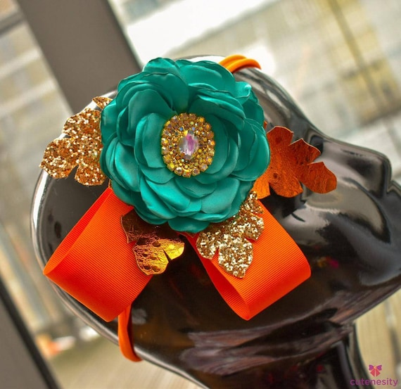 Orange and Aqua Green Flower with  leaves bow - Baby / Toddler / Girl / Kid Headband / Hairband / Hair bow / Barrette / Clip / Xmas