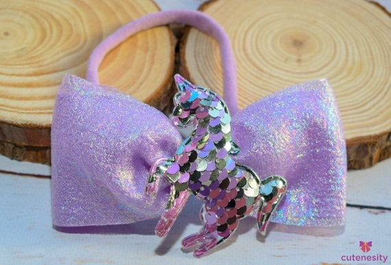 Shimmery lilac ribbon bow with unicorn embellishment - Baby / Toddler / Girls / Kids Headband / Hairband  / Barrette / Hairclip / Burthday