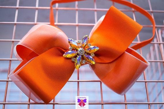 Orange Sheer and Grosgrain Ribbon Bow with Sparkly rhinestone - Baby / Toddler / Girls / Kids Headband / Hairband / Barette / Hairclip