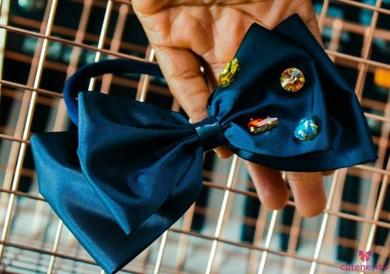 Navy Taffeta bow with studs  - Baby / Toddler / Girls / Kids Headband / Hairband  / Barette / Hairclip / cake smash / birthday easter