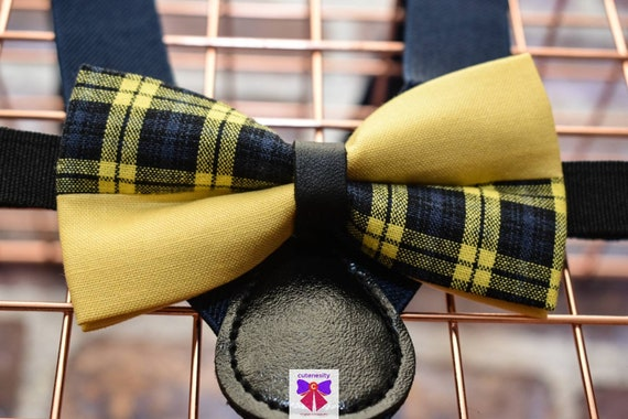 Kids Navy and Yellow Plaid Bow Tie with Suspenders / Braces  for Baby, Toddler and Boys - Wedding / Cake Smash / Birthday / Christening