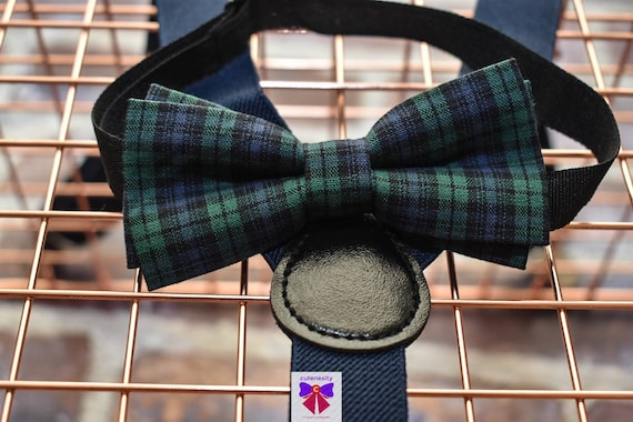 Kids dark green and navy plaid / tartan Bow Tie with Suspenders / Braces for Baby, Toddlers and Boys - Wedding / Birthday / Christening