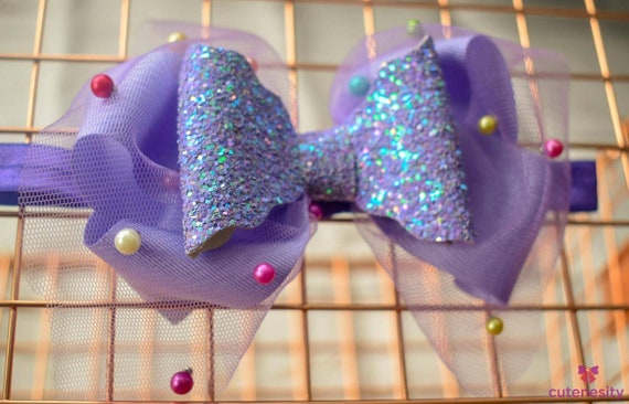 Light purple with beaded tulle and glitter layered Bow - Baby / Toddler / Girls / Kids Headband / Hairband  / Barette / Hairclip