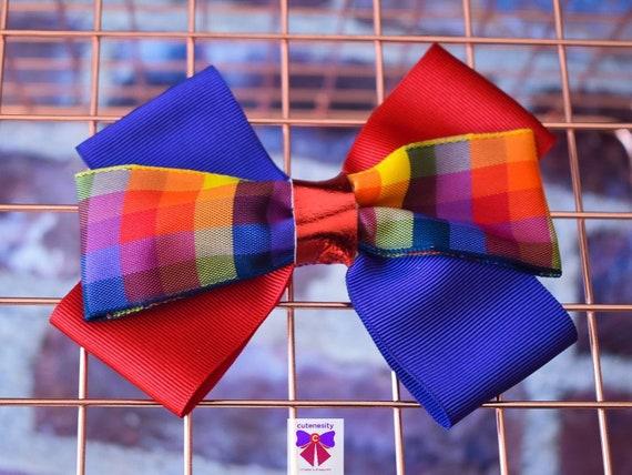 Multicoloured Plaid / Tartan / Gingham Ribbon Bow  - Baby / Toddler / Girls / Kids Headband / Hairband / Hair bow / Barette / Hairclip