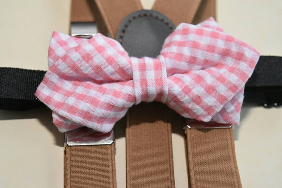 BOYS COLLECTION: Pink and white seersucker Plaid / Gingham  Bow Tie  for Baby, Toddlers and Boys (Kids Bow Ties) with Braces/ Suspenders