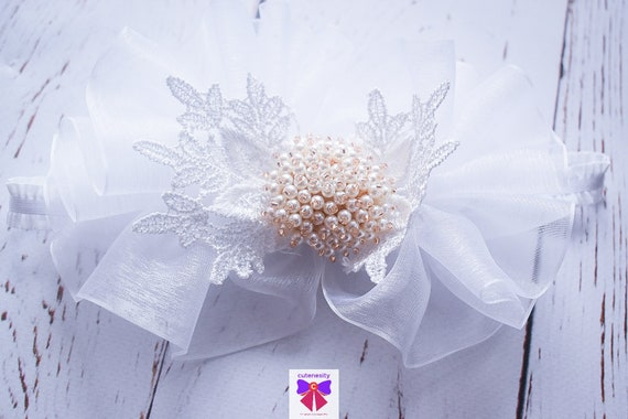 Christening white sheer ruffles headband - Baby / Toddler / Girls / Kids Headband / Hairband / Hair bow /Baptism /First Communion