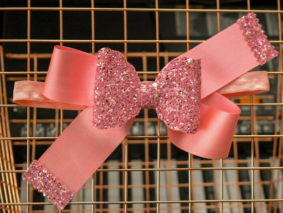 Pretty pink grosgrain glitter bow  - Baby / Toddler / Girl / Kids Headband / Hairband  / Barette / Hairclip / cake smash / school / birthday