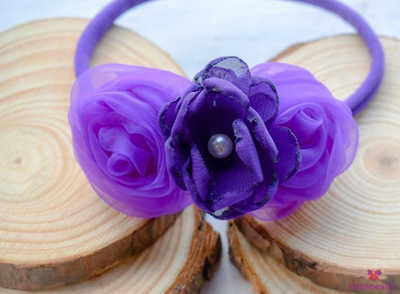 Purple rosettes and flower crown - Baby/ Toddler/ Girl / Kid Headband / Hairband / Hair bow / crown  birthday, photoshoot, party, church