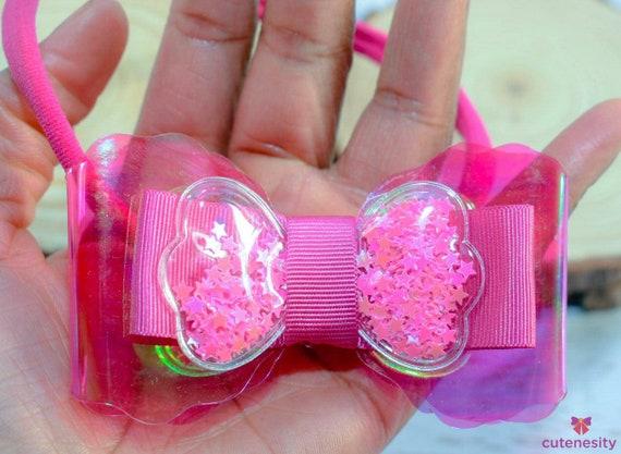 Pink confetti translucent bow  - Baby / Toddler / Girls / Kid Headband / Hairband  / Barette / Hairclip / cake smash / birthday party