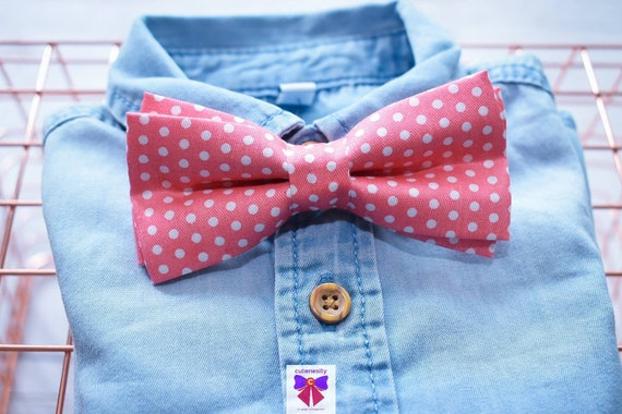 Coral polka dot Bow Tie with Khaki Suspenders / Braces  for Baby, Toddlers and Boys - Wedding / Cake Smash / Birthday / Christening / Party