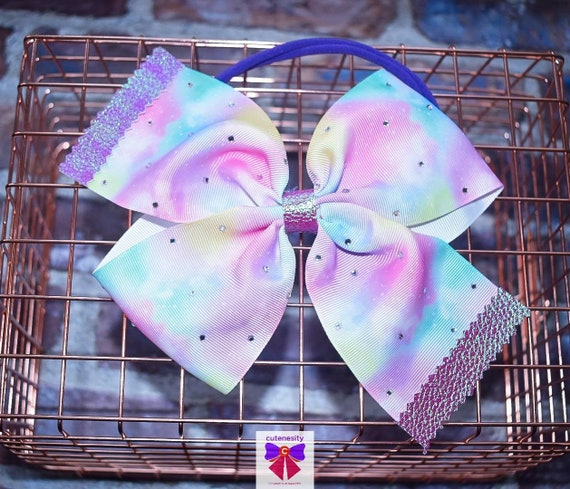 Oversized Pastel Ombre Rainbow Bow with leather tips and gems - Baby / Toddler / Girls / Kids Headband / Hairband / Barrette / Hairclip