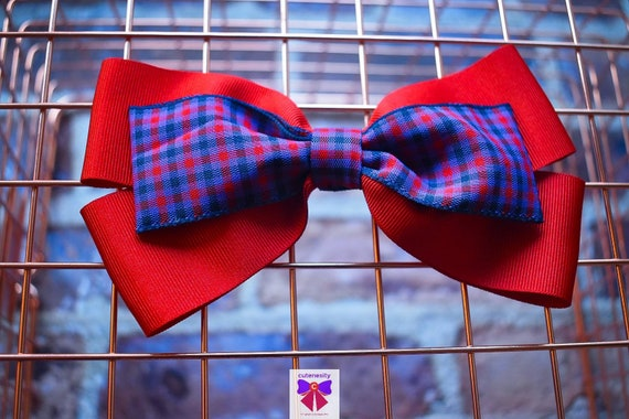Red and Blue Plaid / Tartan / Gingham Ribbon Bow - Baby / Toddler / Girls / Kids Headband / Hairband / Hair bow / Barette / Hairclip
