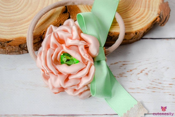 Blush flower with sparkly centre and mint  bow - Baby / Toddler / Girl / Kid Headband / Hairband / Hair bow / Barrette / Clip