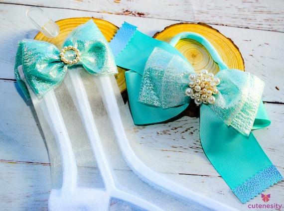 Aqua blue layered olive Bow with  sheer matching socks - Baby / Toddler / Girls / Kids Headband / Hairband  / Barette / Hairclip