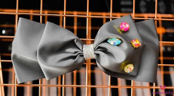 Silver Grey Taffeta bow with studs  - Baby / Toddler / Girls / Kids Headband / Hairband  / Barette / Hairclip / cake smash / birthday easter