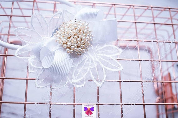Christening sheer flower rosette and bow headband - Baby / Toddler / Girls / Kids Headband / Hairband / Hair bow /Baptism /First Communion