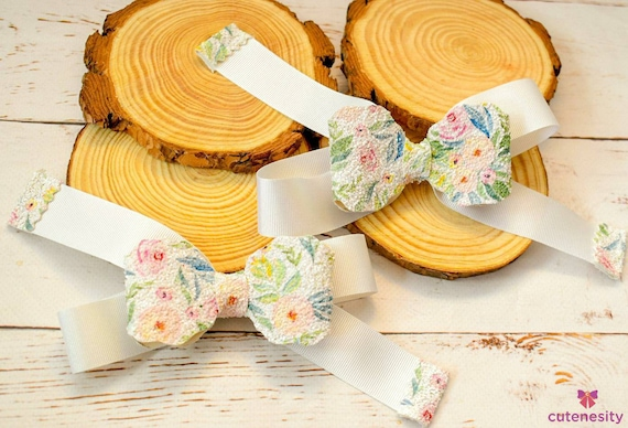 White floral pastel barrettes- Toddler / Kids Elastic / Hairband/ Bow/ Hairbow for everyday wear, wedding, party, birthday, photoshoot