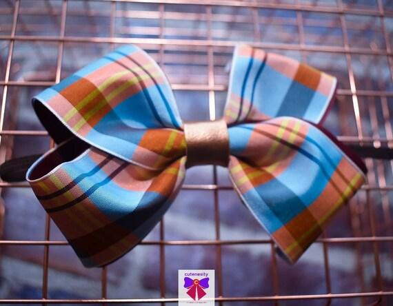 Blue, Apricot and Yellow Plaid /Tartan Bow - Baby / Toddler / Girls / Kids Headband / Hairband / Hair bow / Barette / Hairclip