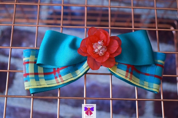 Turquoise and red plaid layered bow with flower rhinestone - Baby / Toddler / Girls / Kids Headband / Hairband  / Barette / Hairclip