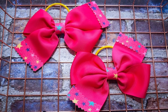 Pair of Fuchsia Pink with Stars Bow Hair Ties - Kids / Toddlers / Girl pony tail holders / scrunchies / Flowergirls bow / Hairbands / Autumn