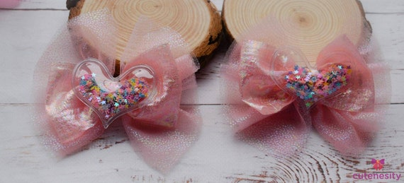 Pastel pink tulle iridescent confetti barrettes- Toddler / Kids Elastic / Hairband/ Bow/ Hairbow for everyday wear, wedding, party, birthday
